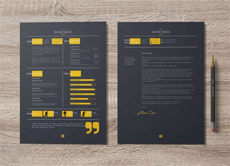 dark light psd word resume template cover letter