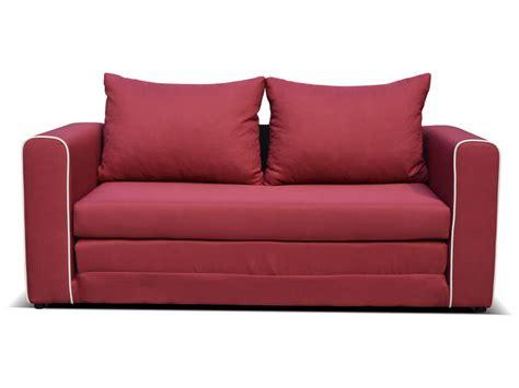 canape convertible  places en tissu laura coloris rouge