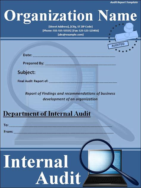 audit report template professional word templates