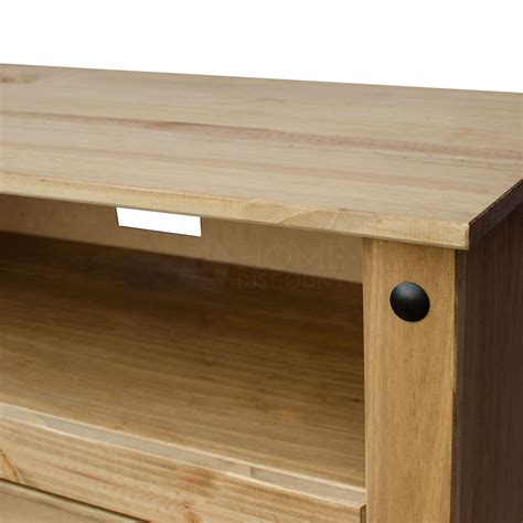 pine television corona flat screen tv unit stand 2 drawer solid