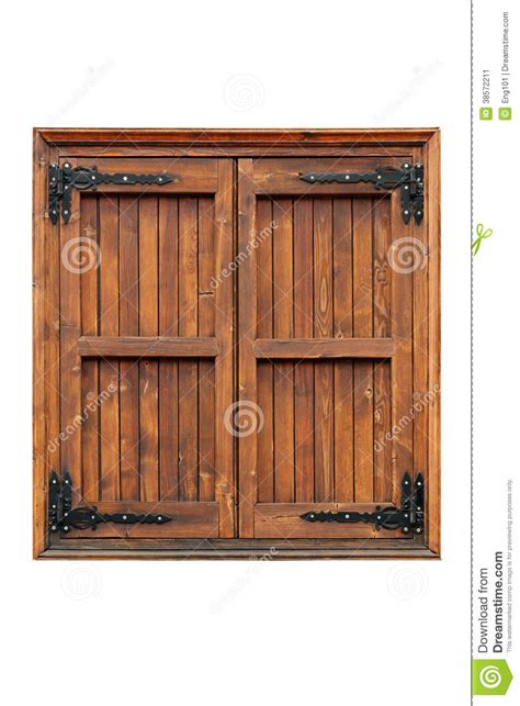 wooden casement window  shutters closed stock image