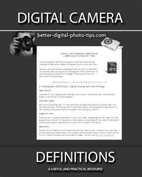 Digital Camera Definitions All Terms, Definitions, Uses