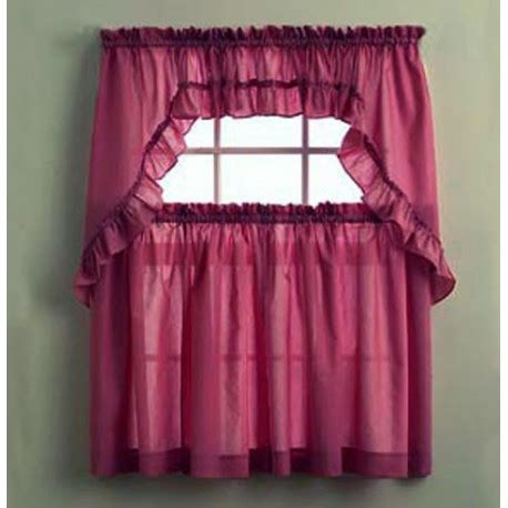 stacey solid color ruffled kitchen curtains curtain
