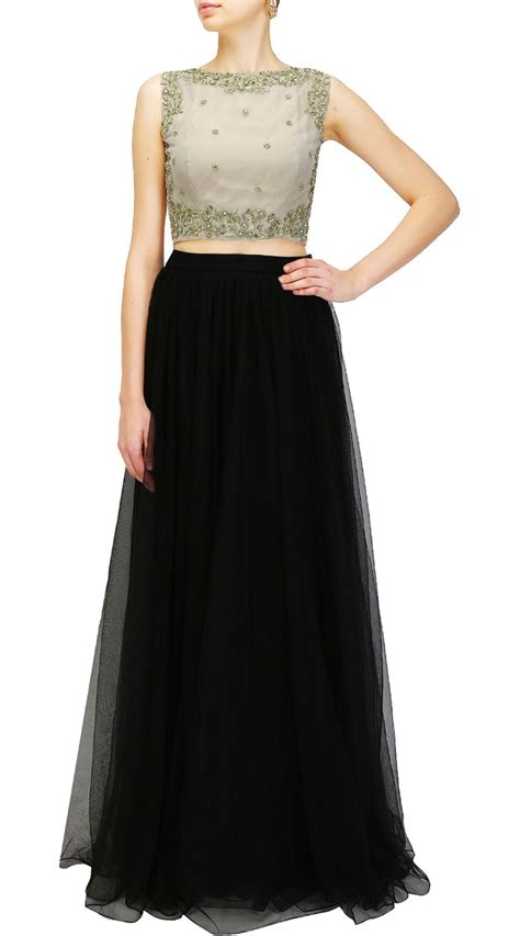 Party Wear Black Net And Silk Crop Top Lehenga SUUDL26425