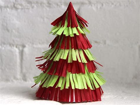 christmas tree tissue paper cone tree craft how to make a fringed tree centerpiece how tos diy