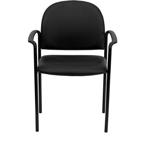 black vinyl comfortable stackable steel side chair with