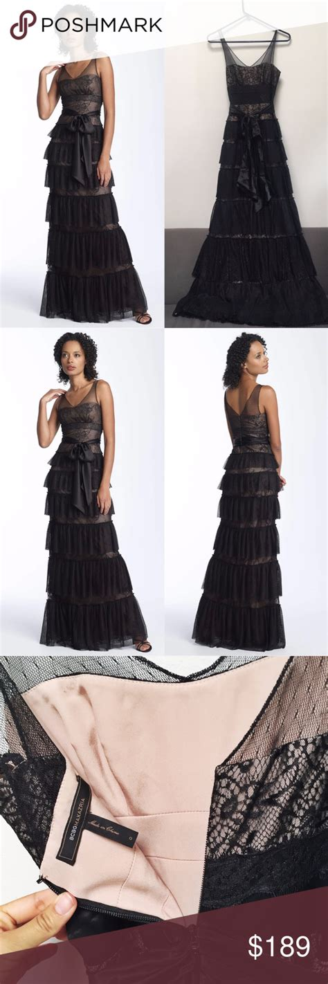 Lace Tiered Tulle Culottes bcbg lace tiered lace gown this bcbg max azria gown is