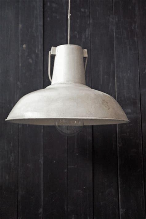 Large Vintage Ceiling Lamp Shades   White Distressed Metal