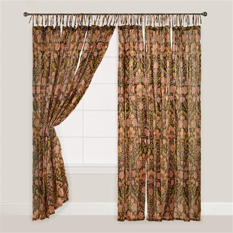 black floral crinkle voile cotton curtains set of 2