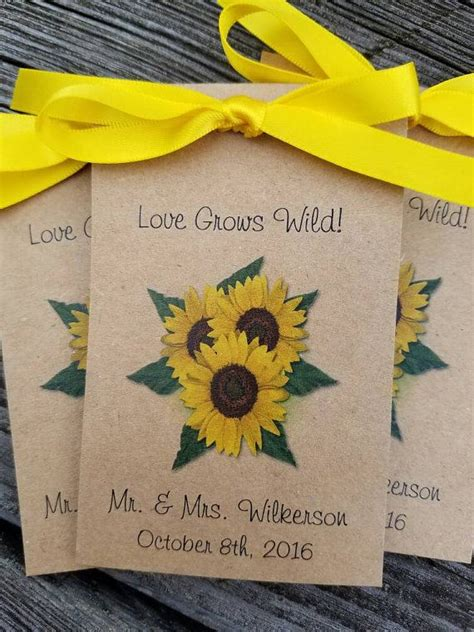 rustic  shabby chic favors personalized sunflower trio