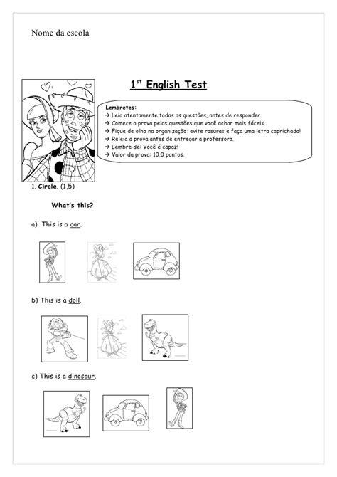 Modelo De Prova 3rd Grade 1st English Test