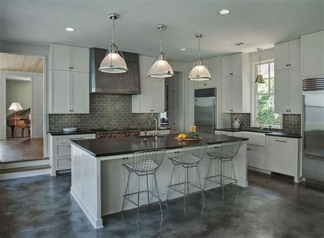 kitchen island with breakfast bar designs gray industrial kitchen features light gray cabinets