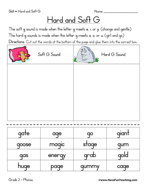 Resource  Phonics  Hard G And Soft G Worksheet