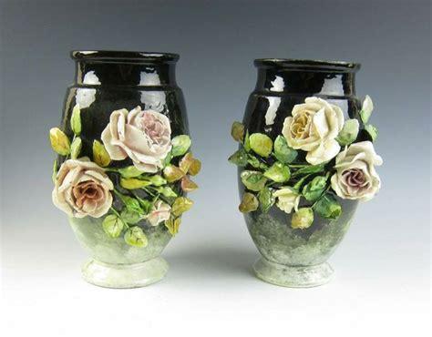 Pair Antique French Barbotine Vases Signed Longchamp