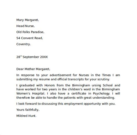 employment cover letter template free sles exles
