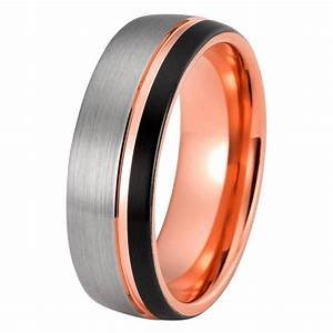 mens rose gold wedding band tungsten wedding rings With mens tungsten wedding rings