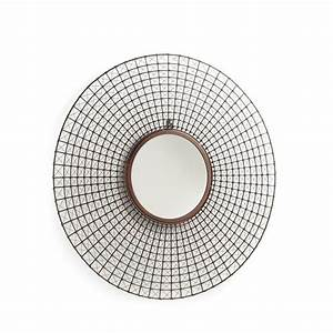 miroir rond mural tiges metal cuivre by drawer With miroir mural rond