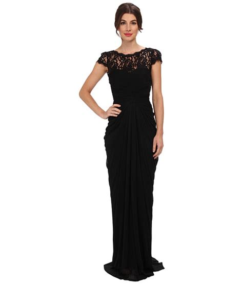 Papell Lace Bodice On Draped Skirt - papell lace bodice on draped skirt black zappos