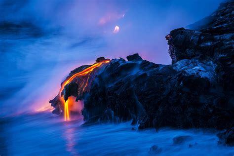 Nature Rocks Lava Magma Sea Water Volcano Wallpaper