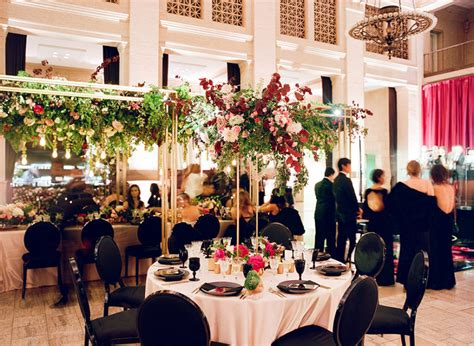 sophisticated chic black  red san francisco wedding