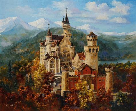 black canvas saatchi neuschwanstein castle painting by yuriy borsuk
