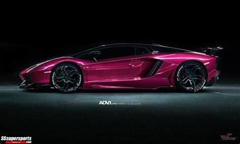 metallic pink lamborghini aventador  chrome red ducati