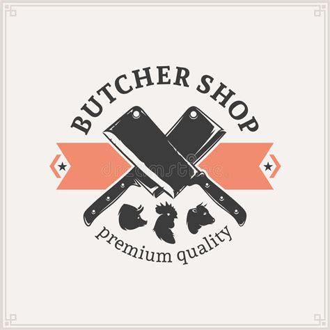 cleaver knife butcher shop logo label template stock vector