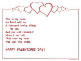 Printable Valentine Day Poem Craft