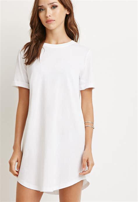 t shirt dresses forever 21 t shirt dress in white lyst
