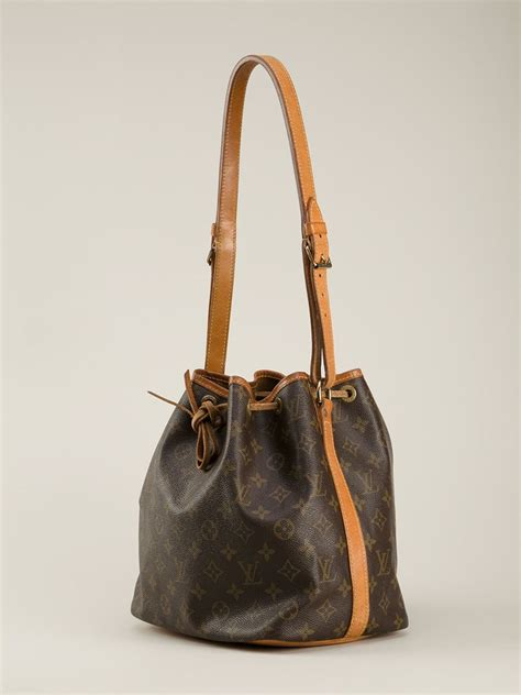 lyst louis vuitton monogram petite bucket bag  brown