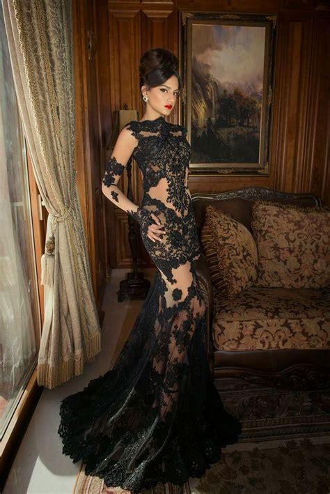 long sleeve prom dresses mermaid sheer black lace