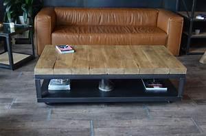Table Basse Bois Brut : table basse bois brut et acier meuble acier inspiration ~ Melissatoandfro.com Idées de Décoration