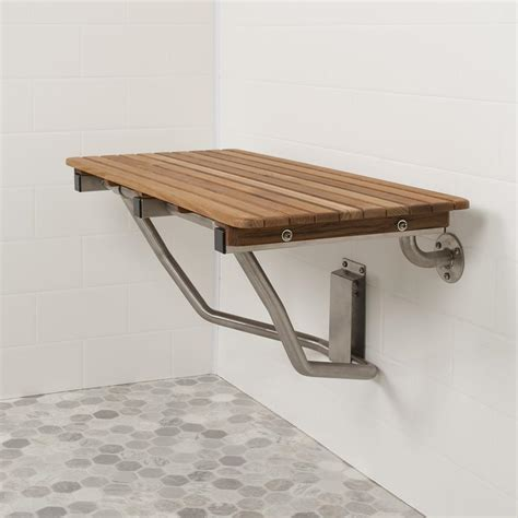 wide teak  wall mount shower bench seat teakworksu