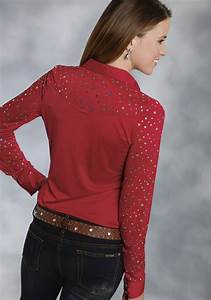 3x Shirt Size Chart Roper Women 39 S Red Sequined Long Sleeve Rhinestone Snap