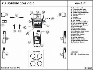 Dash Kit Trim For Kia Sorento With Manual Ac Control 2008