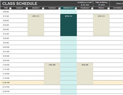 study schedule template student schedule
