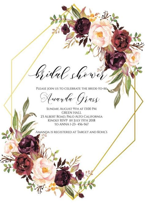 Gold Geometric Bridal Shower Invitation Instant Download