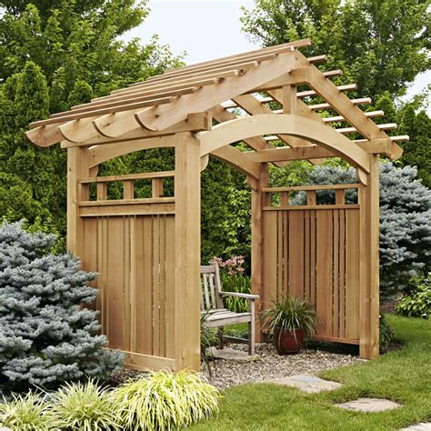 arching garden arbor woodworking plan from wood magazine