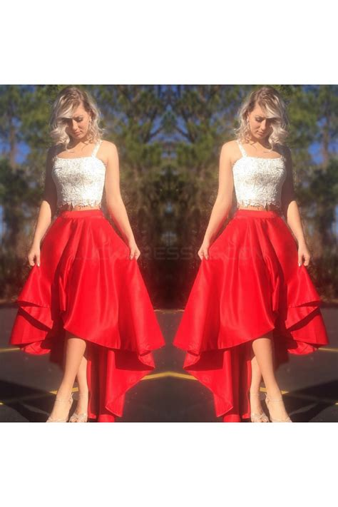 High Low Red White Lace Two Pieces Prom Formal Evening ...