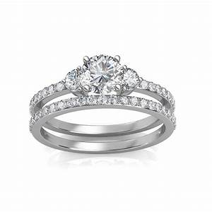 130 carat 18k white gold sylvia engagement ring and for 18k gold wedding ring set
