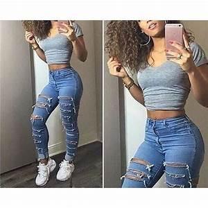 Jean Bleu Troué Femme : pantalon femme jeans trouer pantalon en jeans femme moulant dechire taille hau jeans troue pantalon ~ Melissatoandfro.com Idées de Décoration
