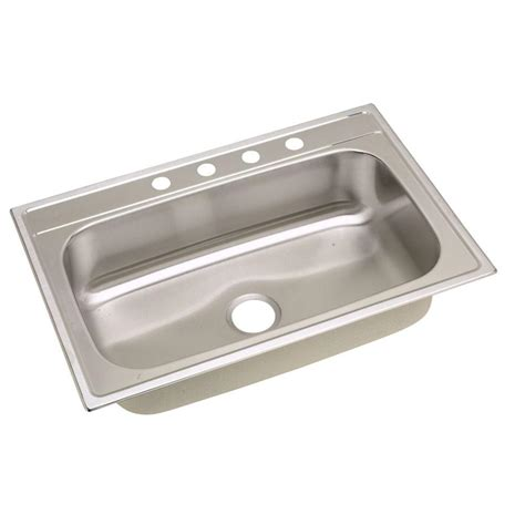 home depot deep sink elkay signature drop in stainless steel 33 in 4 hole