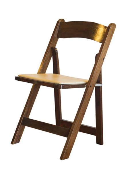fruitwood finish wood folding chair w seat pad american