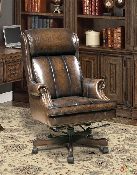 executive office desk chair genuine brown leather