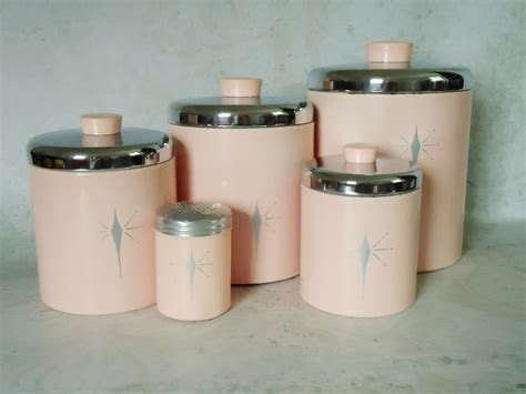 retro kitchen canisters set vintage pink tin kitchen canister set pink atomic