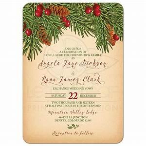 Christmas Wedding Invitation Traditional Vintage