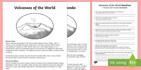 World Volcanoes Comprehension Worksheet  Activity Sheet