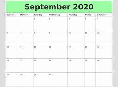 September 2020 Printable Calendars