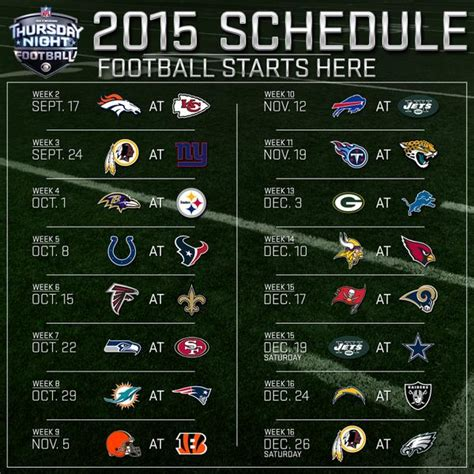 nfl thursday night football television schedule
