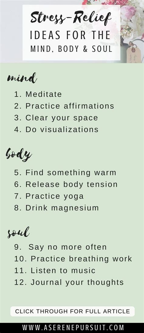 mind body  soul activities  relieve stress fast